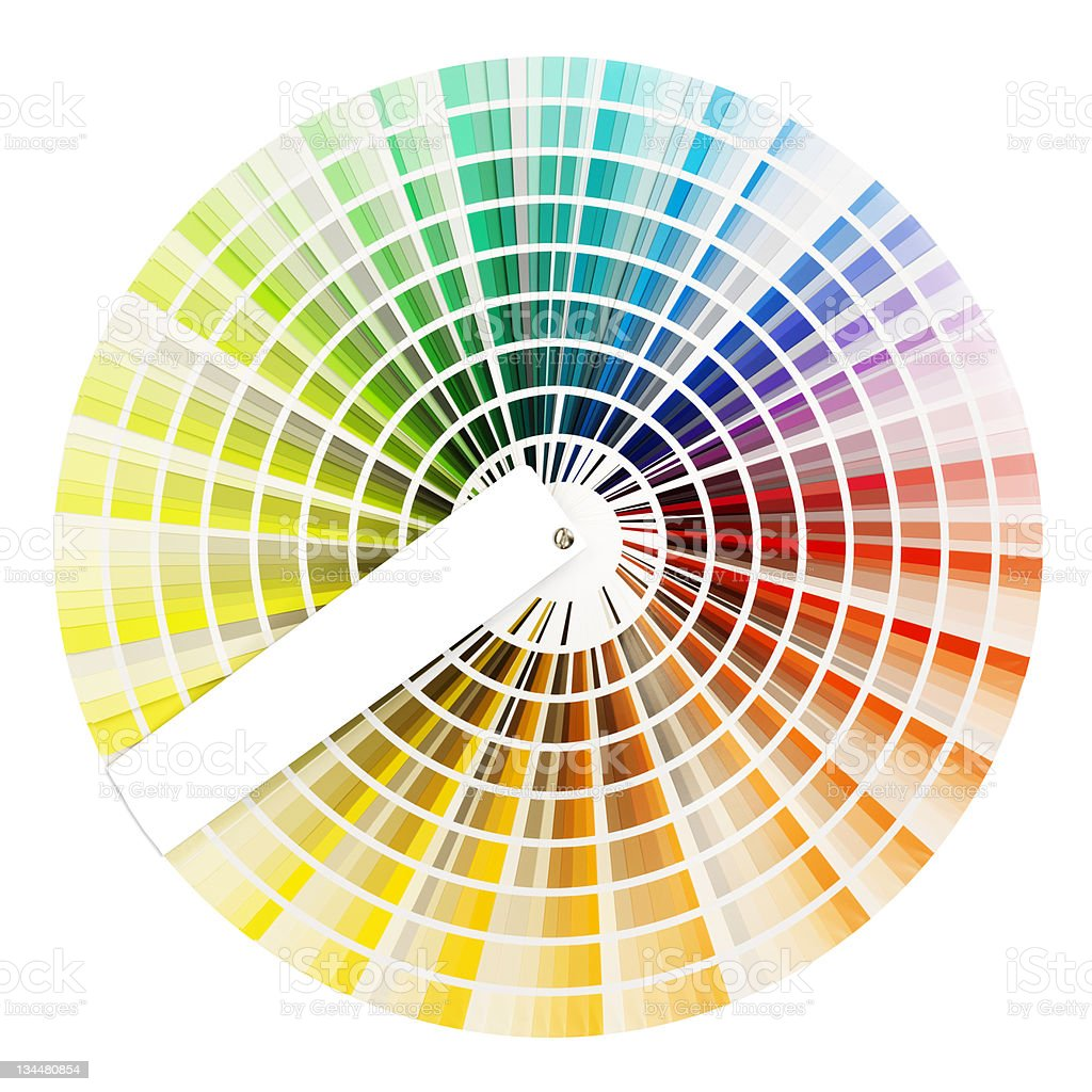 Fanned out color wheel isolated on white background stock photo
