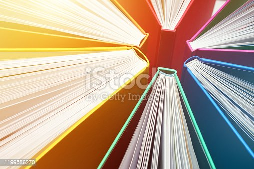 istock Fanned Out Colorful Books Forming Abstract Circle Pattern - Explosion of Knowledge 1199586270