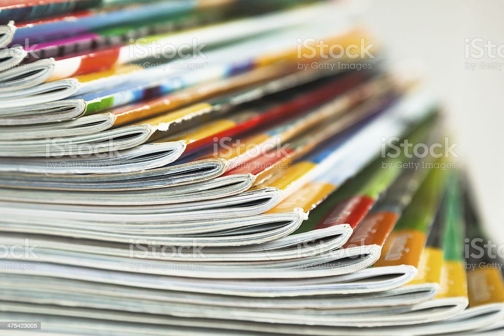 fanned out magazins stock photo