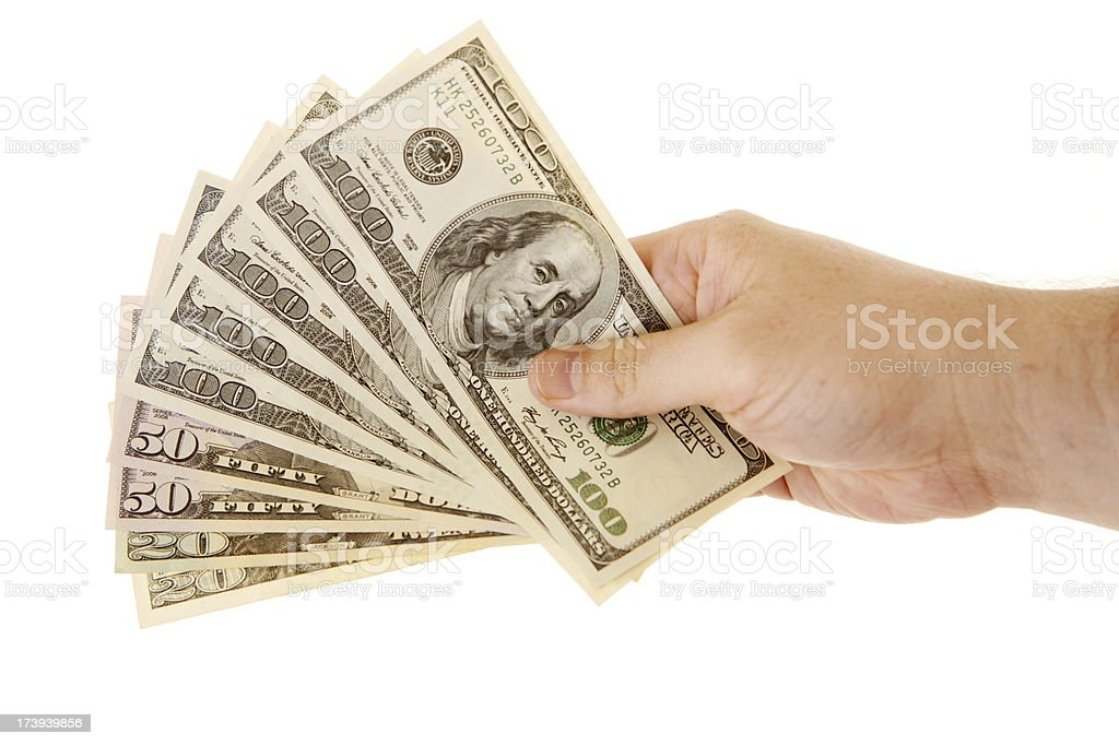 Fanned out US currency stock photo