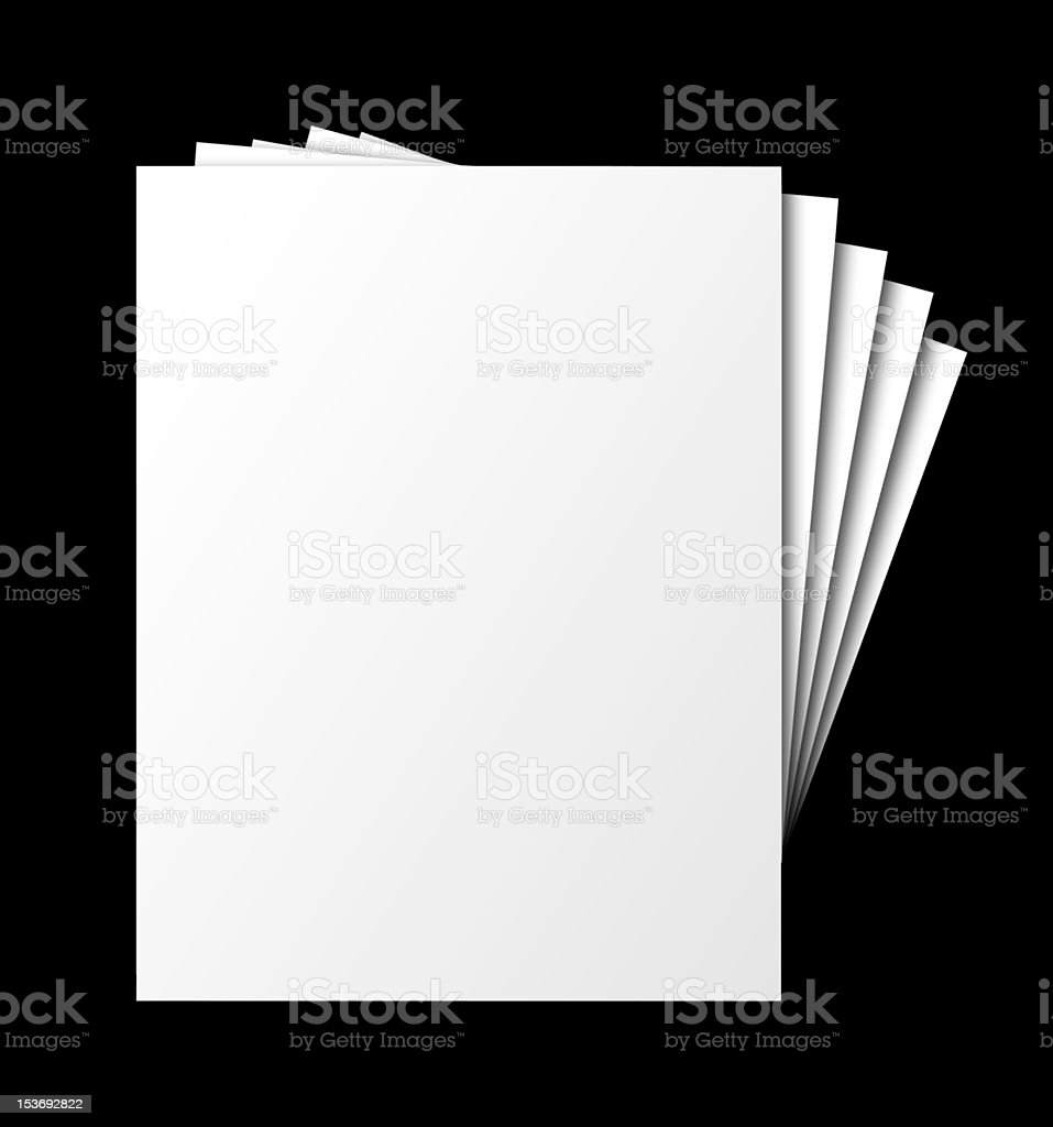 Fanned papers, isolated stock photo