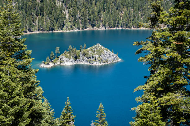Fannette Island in Emerald Bay at Lake Tahoe stock photo