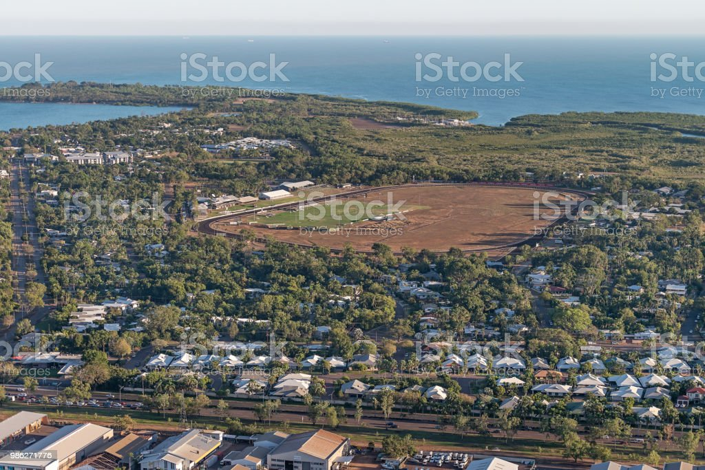 Fannie Bay racecourse and East Point from air stock photo