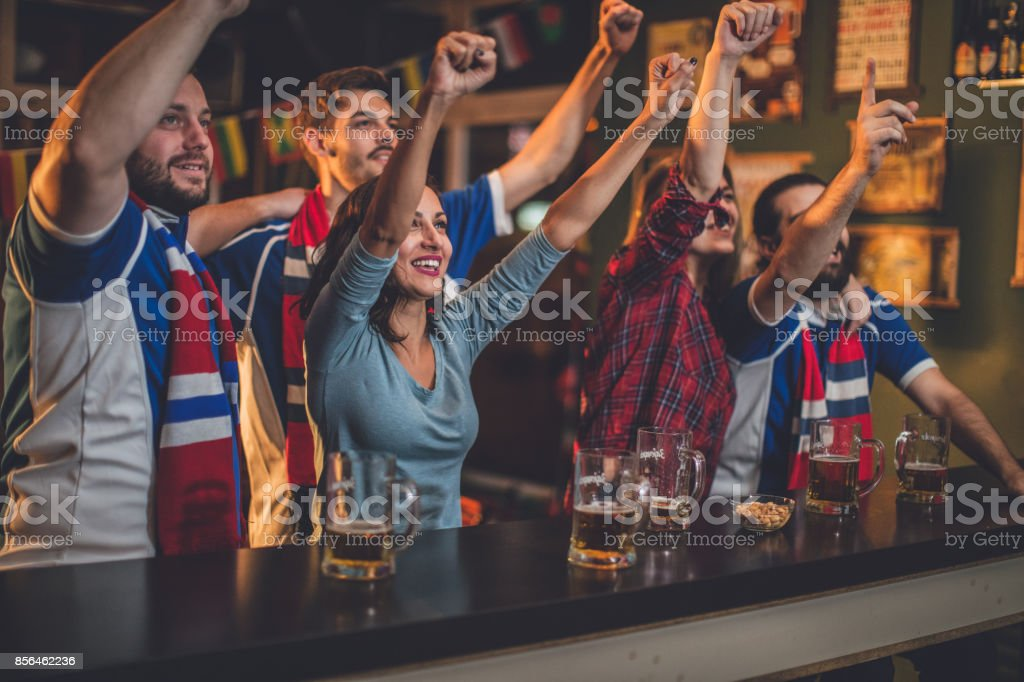 Fans are very happy stock photo