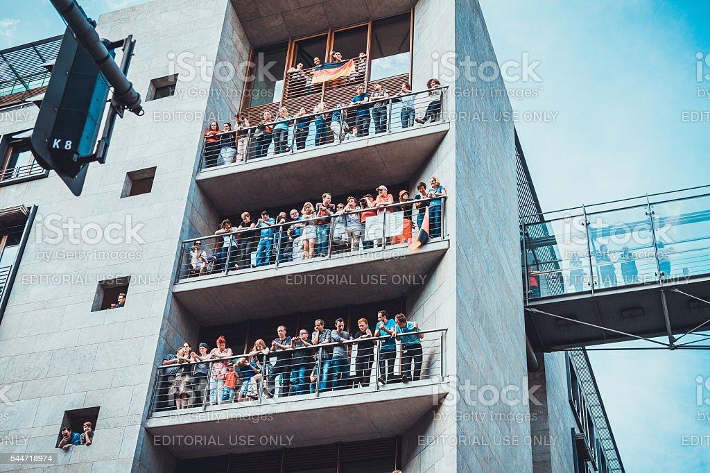 Fans at balcony near brandenburger tor stock photo