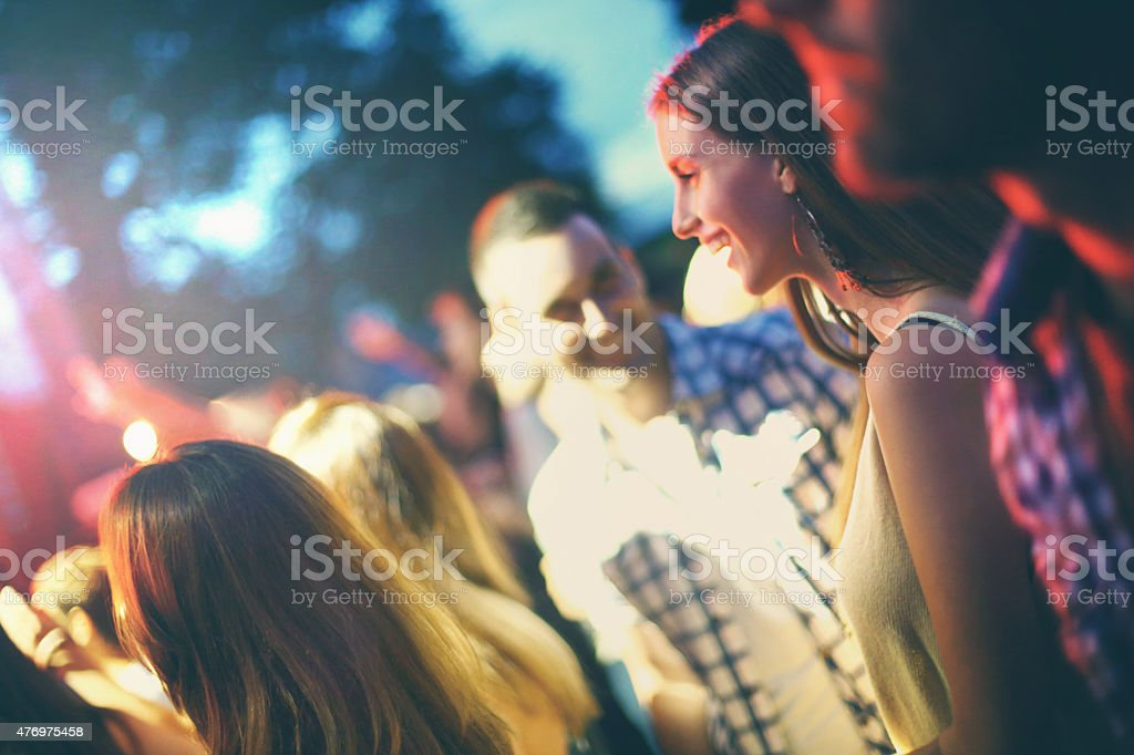 Fans at concert. stock photo