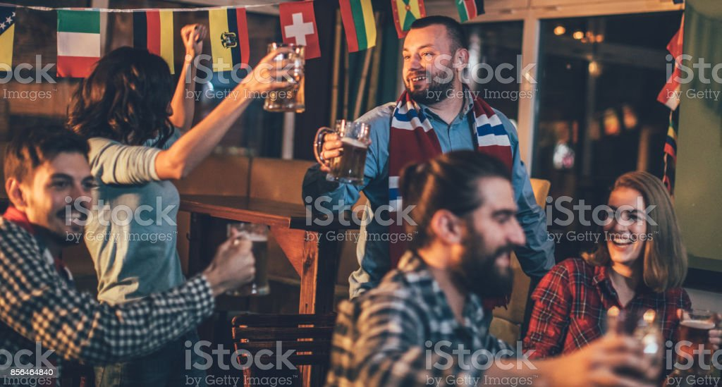 Fans celebrating stock photo