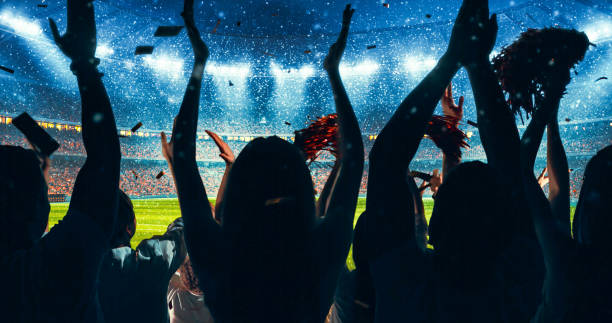 Fans celebrating the success of their favorite sports team on the stands of the professional stadium Fans celebrating the success of their favorite sports team on the stands of the professional stadium. Stadium is made in 3D. spectator stock pictures, royalty-free photos & images