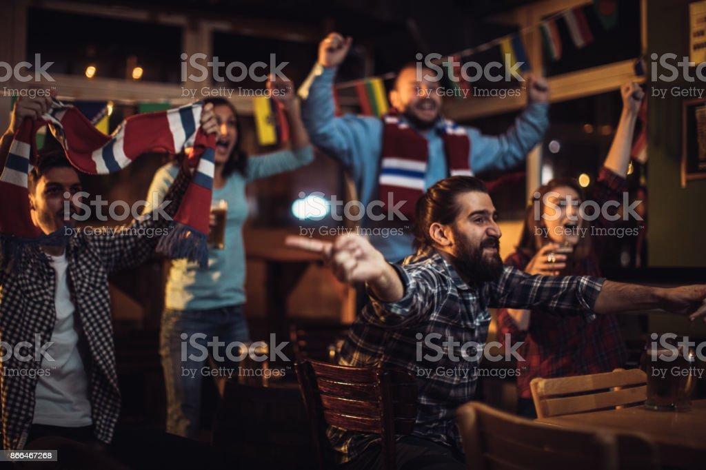 Fans cheering stock photo