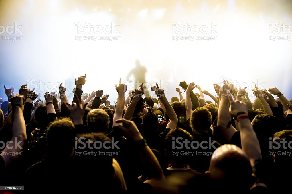 Fans gathering around cheering for idols at concert royalty-free stock photo