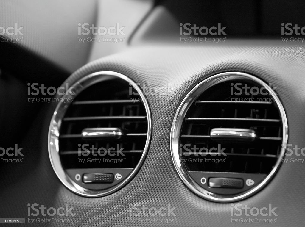 fans in a modern sports car stock photo