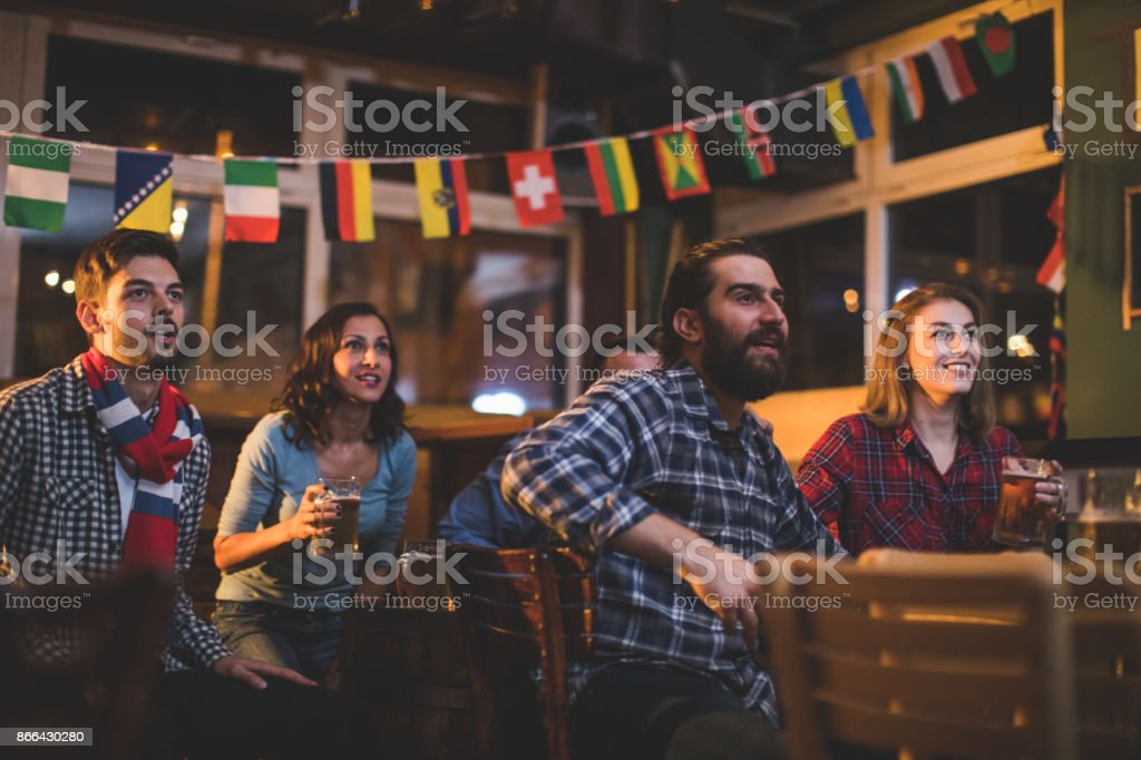 Fans in the pub stock photo