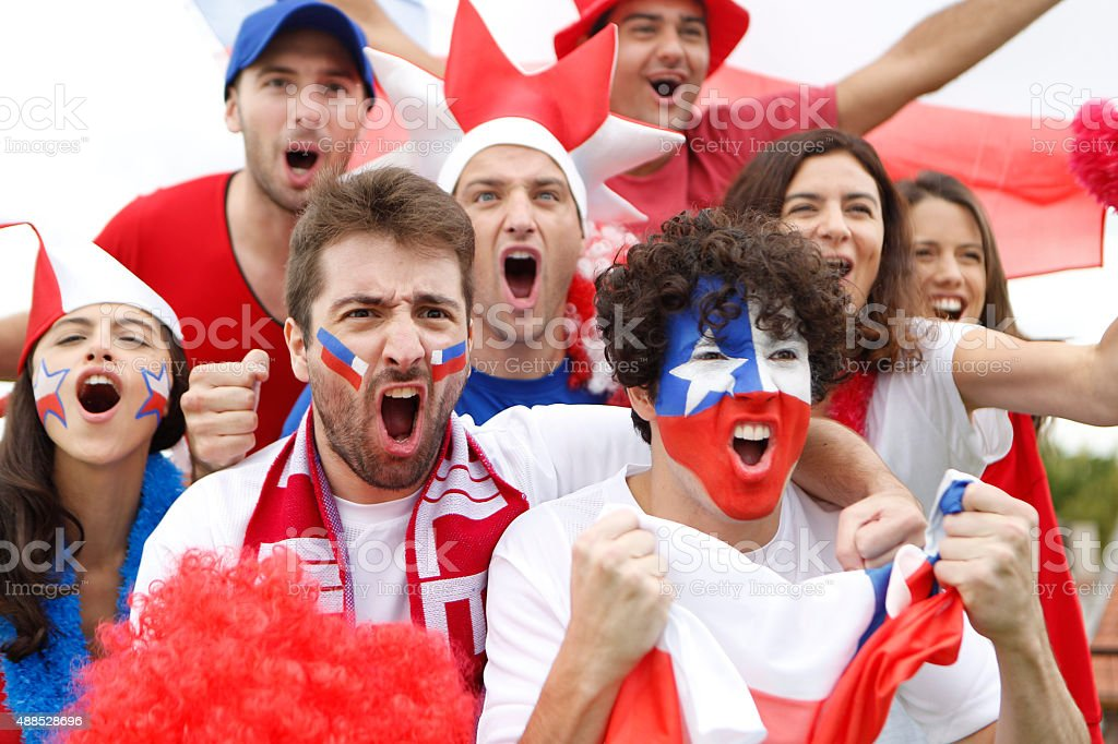 Fans of Chile stock photo