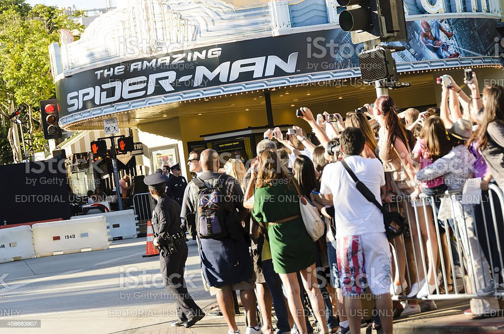 Fans Taking Photos at 'The Amazing Spider-Man' Movie Premiere stock photo