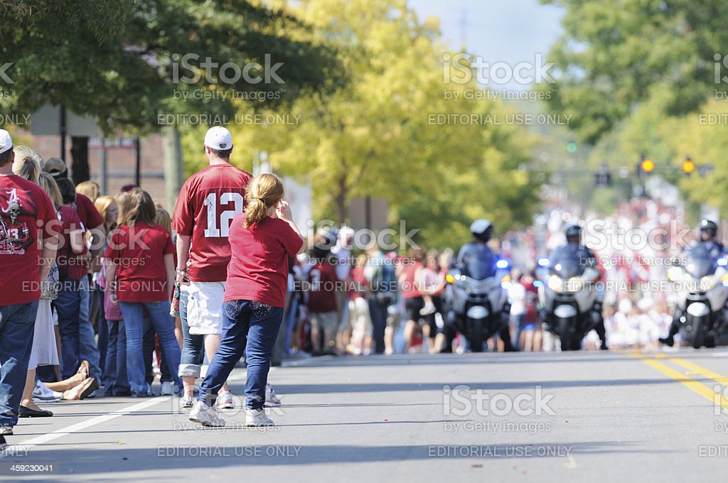 Fans waiting for homecoming parade stock photo