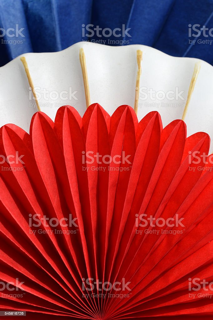 fans with colors of the French flag stock photo
