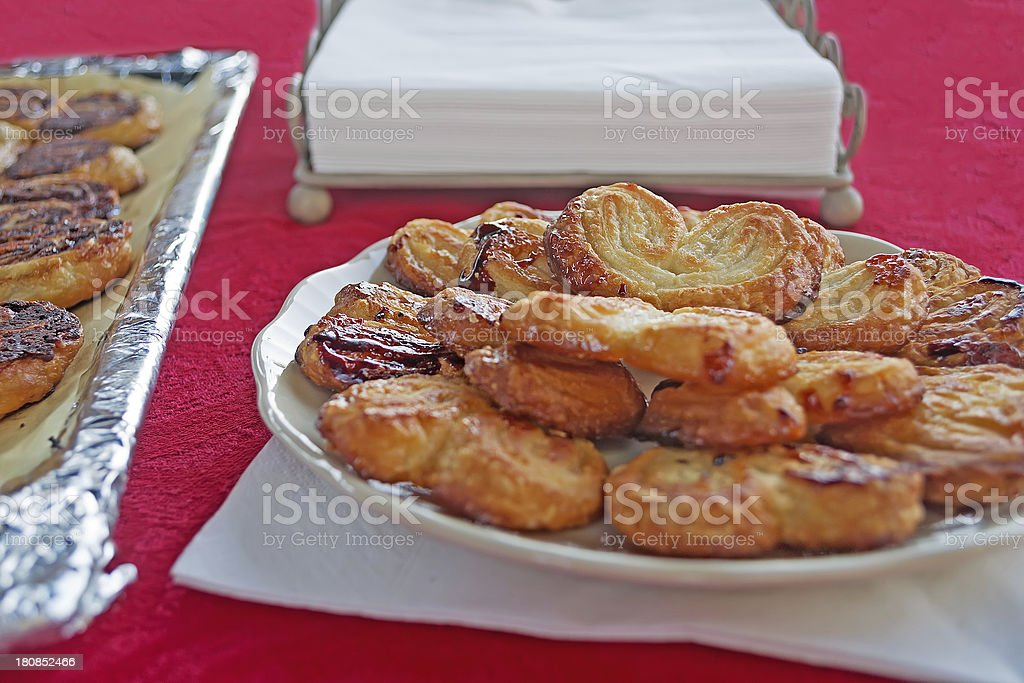 fan-shaped pastries on red royalty-free stock photo