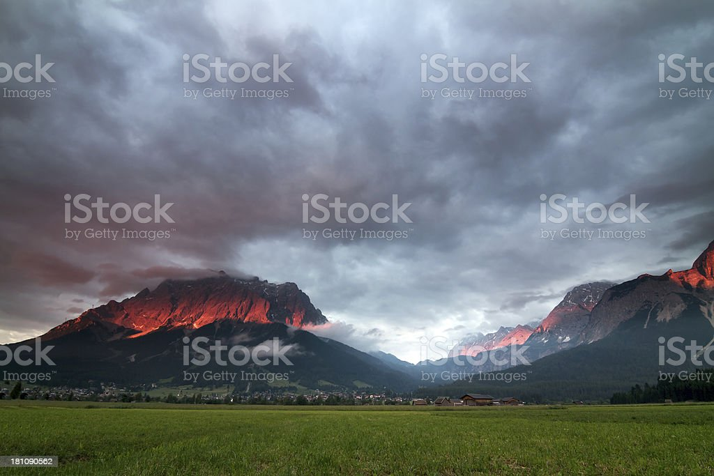fantastic alpine afterglow in Europe stock photo