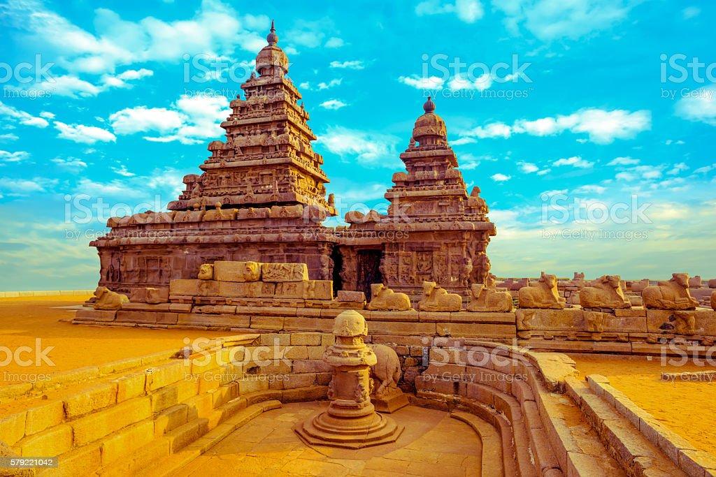 fantastic art design of monolithic famous Shore Temple stock photo