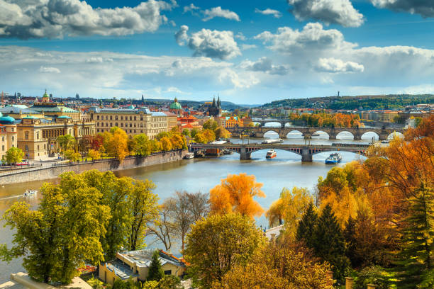 Fantastic autumn panorama with famous Prague city, Czech Republic, Europe stock photo