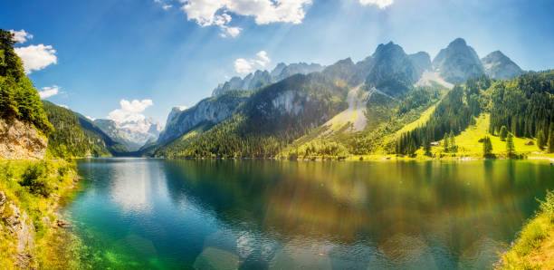 fantastic azure alpine lake vorderer gosausee. gosau valley in upper austria. - horizontal stock pictures, royalty-free photos & images
