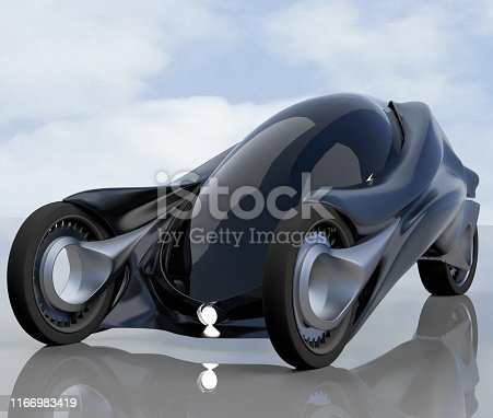 837409978 istock photo fantastic car concept of the future electro three wheels. 3D rendering. 1166983419