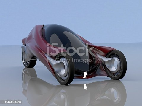 837409978istockphoto fantastic car concept of the future electro three wheels 3D rendering. 1166986073