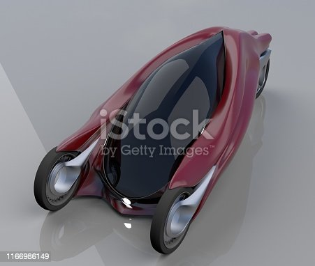 837409978istockphoto fantastic car concept of the future electro three wheels 3D rendering. 1166986149
