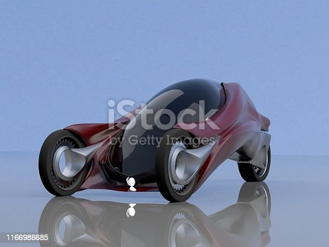 837409978istockphoto fantastic car concept of the future electro three wheels 3D rendering. 1166986685