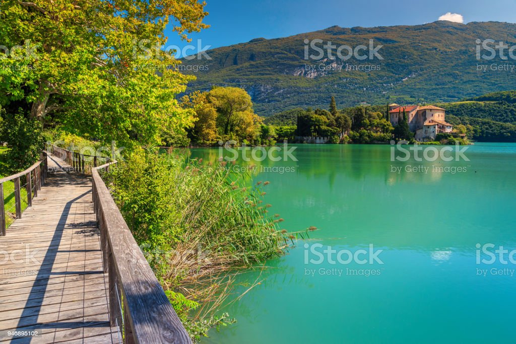 Fantastic Castle Toblino on the shores of lake Toblino, Italy stock photo