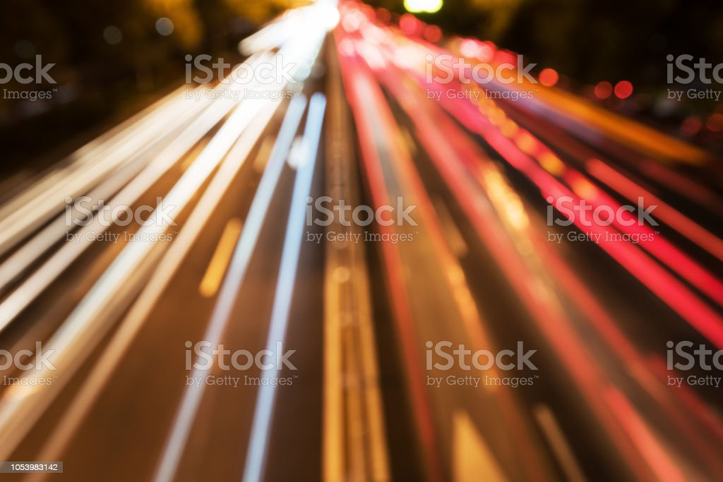 Fantastic city road night view slow door rails stock photo