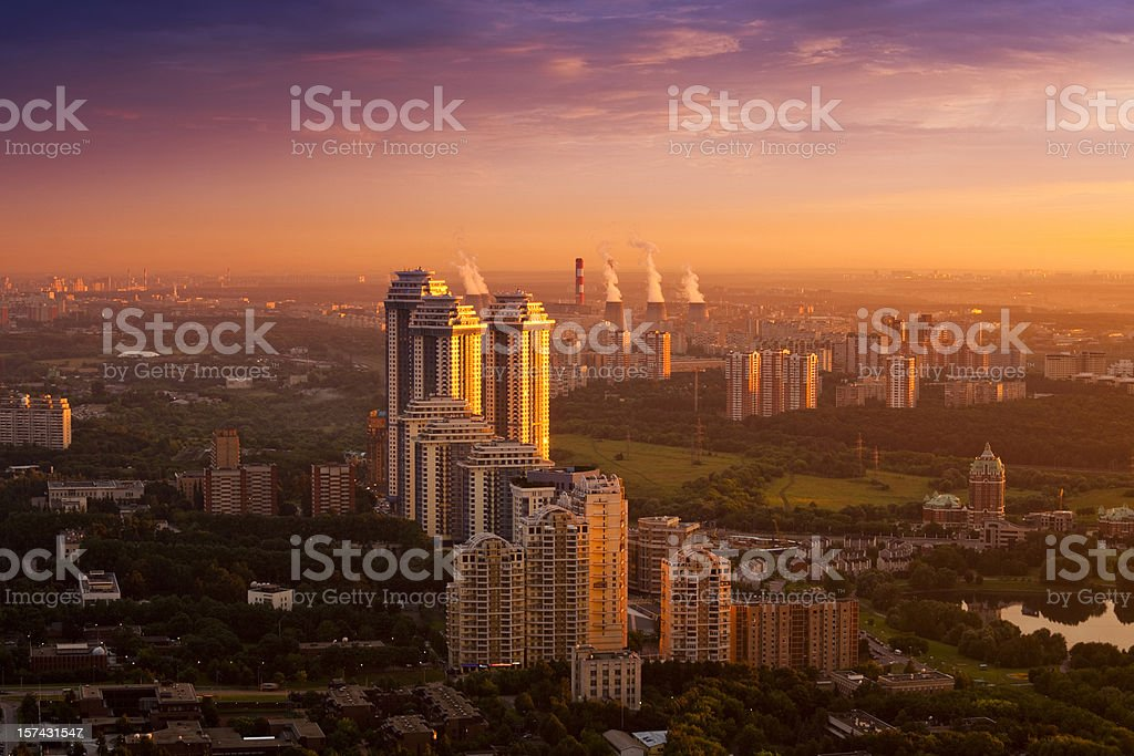 Fantastic cityscape at sunset. Aerial view royalty-free stock photo