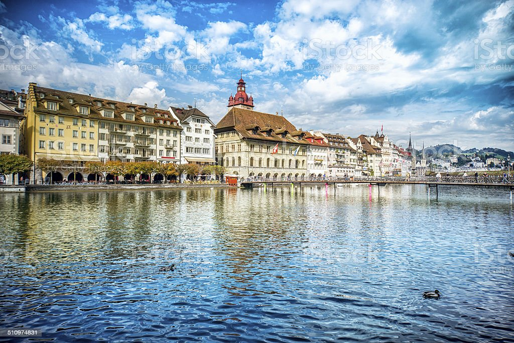 Fantastic Cityscape of old town Lucerne and the river Reuss stock photo