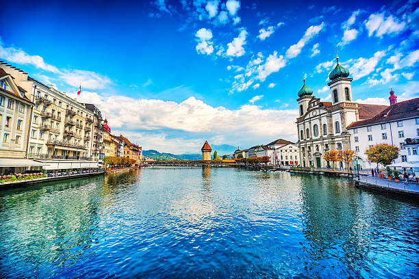 fantastic cityscape of old town lucerne and the river reuss - lucerne stock pictures, royalty-free photos & images