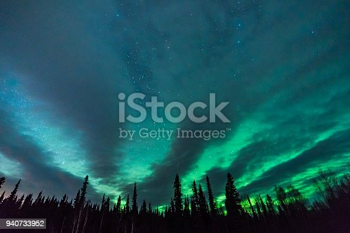 istock Fantastic clouds, aurora borealis, and stars fan out behind silhouetted tree line 940733952
