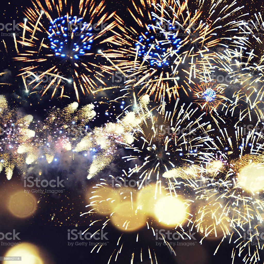 Fantastic colorful fireworks with  copyspace. Background for New photo libre de droits