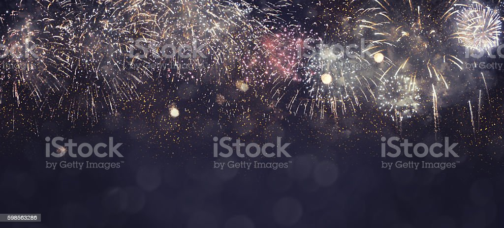 Fantastic colorful fireworks with  copyspace. Background for New stock photo