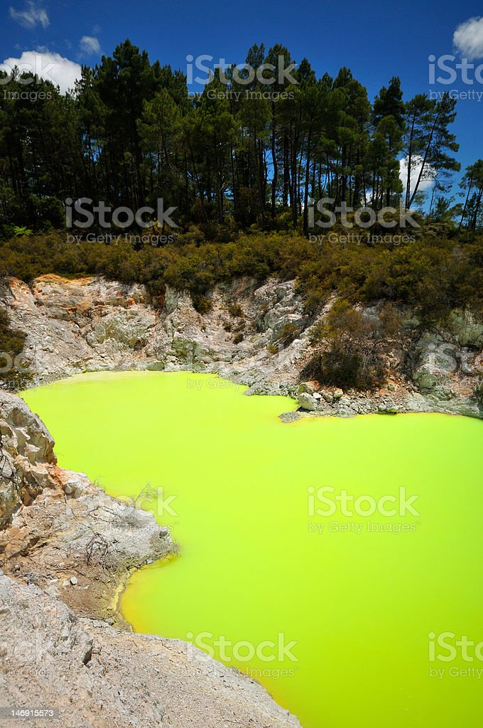 Fantastic colors of the Devil's Bath Lake, Waiotapu, New Zealand stock photo