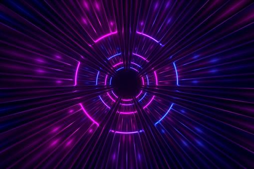 Fantastic corridor under neon lights 3d illustration