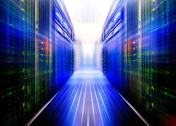 fantastic data center with a binary code penetrating supercomputers - bit binary stock pictures, royalty-free photos & images