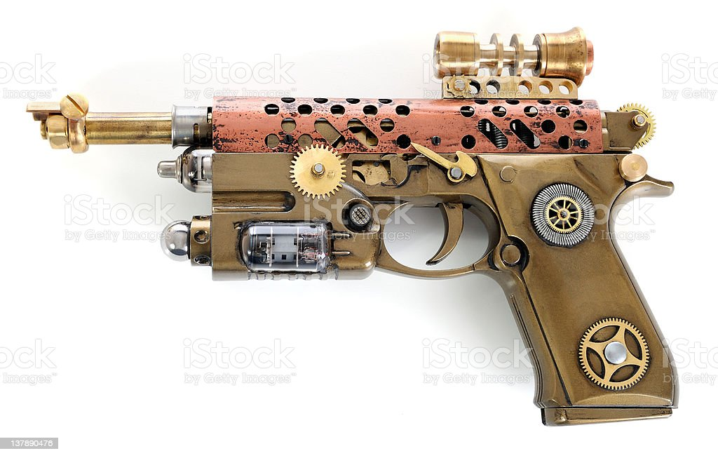 Fantastic design for a steampunk hand cannon stock photo
