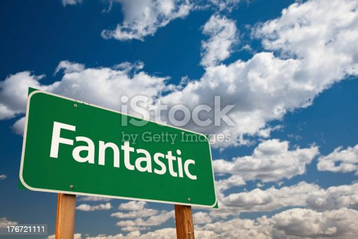 815703312 istock photo Fantastic Green Road Sign with Sky 176721111