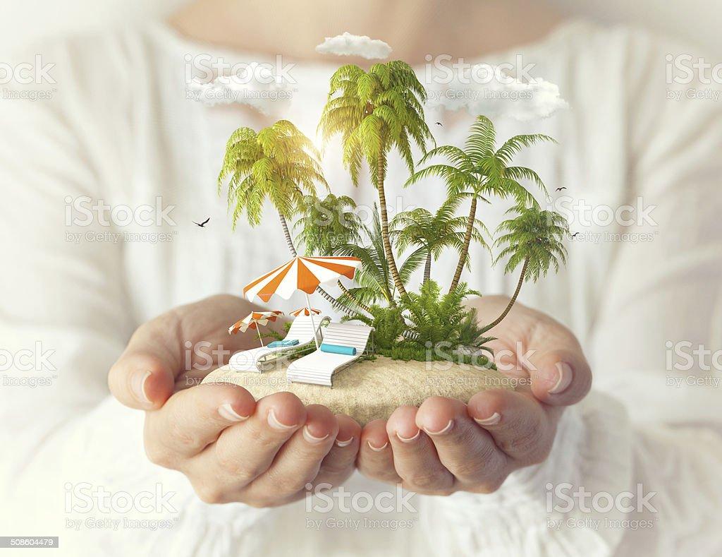 Fantastic island stock photo