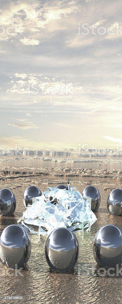 Fantastic landscape. 3D art. stock photo