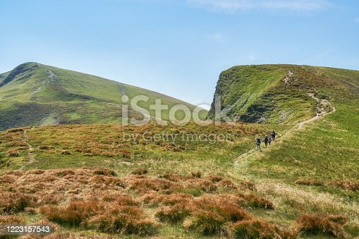 The landscape of the mountains. Beautiful mountain ranges. Location the Carpathian mountains.