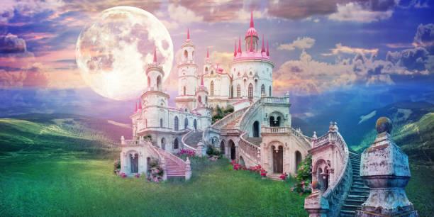 fantastisch landschap met prachtige oude kasteel en maan. wonderland achtergrond - kasteel stockfoto's en -beelden