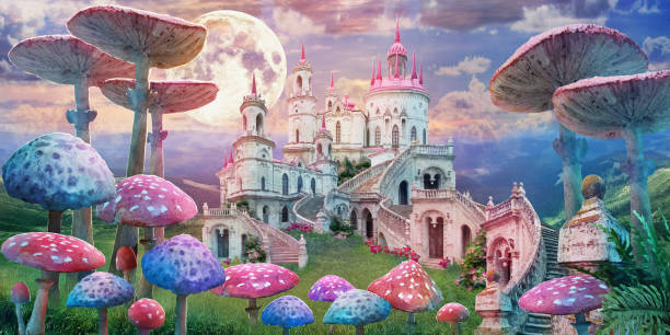 """fantastic landscape with mushrooms fantastic landscape with mushrooms. illustration to the fairy tale """"Alice in Wonderland"""" fantasy stock pictures, royalty-free photos & images"""