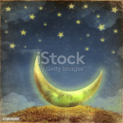 478539432 istock photo Fantastic moon and stars   at night sky 478608996