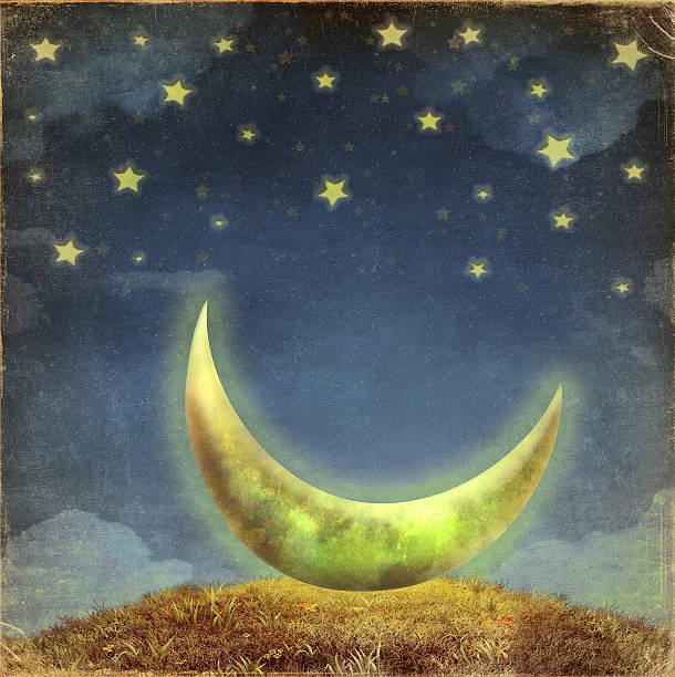 fantastic moon and stars   at night sky - sleeping illustration stockfoto's en -beelden