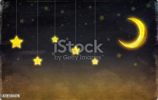 478539432 istock photo Fantastic moon and stars on the rope  at night sky 478134478